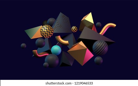 3D abstract black, gold and teal colored geometric shapes. Memphis inspired. Eps10 vector