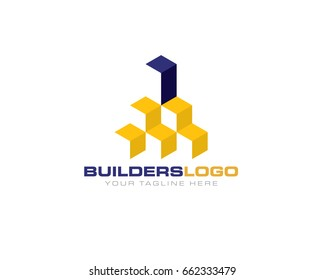 3D abstract blocks cube as building structure architecture skyscraper highrise logo template
