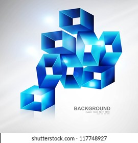 3d abstract blue shiny boxes reflection Vector