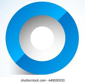3d abstract circle icon with transparent shadow. Circle icon, circle logo