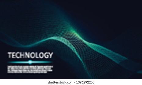 3d abstract digital technology background. Futuristic sci-fi user interface concept with gradient dots and lines. Big data, artificial intelligence, music hud. Blockchain and cryptocurrency. Vector