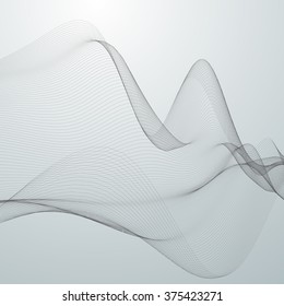 3D abstract digital wave of particles and wireframe. Futuristic vector illustration. HUD element. Technology concept. Abstract background