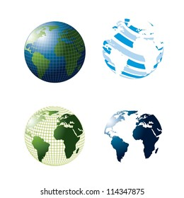 3d abstract earth isolated over white background. vector illustration