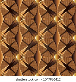 3d abstract geometric polygons seamless pattern. Modern vector background wallpaper with circles, mandalas, meanders, greek key, shapes, polygonal figures, triangles, rhombus, stars. Surface texture.