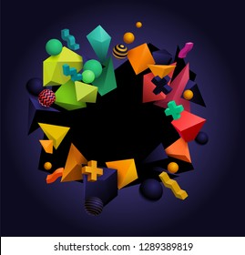 3D abstract geometric shapes. Modern festive background design with place for text. Red, green, yellow, orange and black. Eps10 vector
