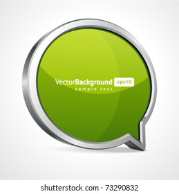 3d abstract glossy speech bubble in perspective with place for text vector background