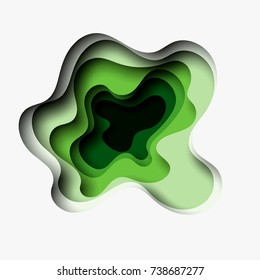 3D abstract green wave background with paper cut shapes. Vector design layout for business presentations. Ecology concept. Eps10.