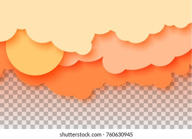 3d abstract illustration of pastel orange sky, sun and clouds.