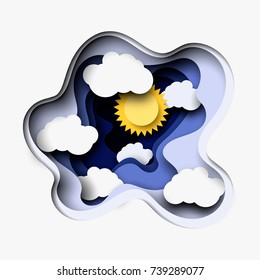 3d abstract layered paper cut illustration of white clouds and sun. Vector colorful template in carving art style.