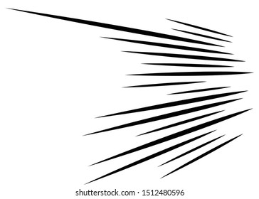 3D Abstract lines. Dynamic straight burst lines in perspective. Radial, radiating stripes. Rapid rays, beams in motion. Action, blast streaks, strips