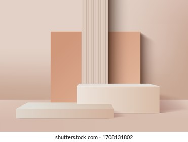 3d Abstract minimal scene with geometrical forms. Background vector 3d cream colors rendering with podium. Abstract background. Scene to show cosmetic podructs. Showcase, shopfront, 3d render vector.