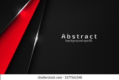 3d abstract modern  background dark black with luxury VIP and red color with line silver Sparkles glitter and gradient decoration shapes geometric Polished vector , design elements