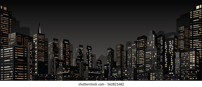 3D Abstract Night City. Modern Cityscape with Skyscrapers. Vector Dramatic Sin City Banner Design Template.