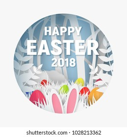 3d abstract paper cut illustration of colorful rabbit, grass, flowers and egg hunt. Happy easter greeting card template.