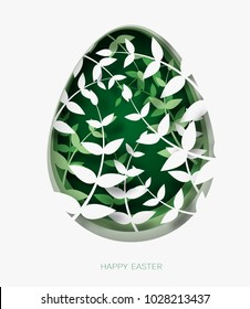 3d abstract paper cut illustration of colorful plants, grass, flowers and green egg shape. Happy easter greeting card template.