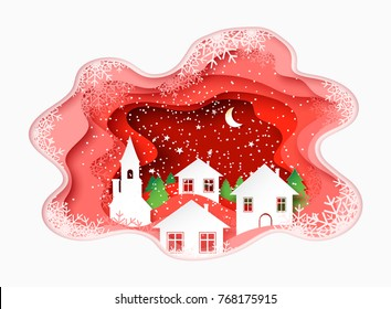 3d abstract paper cut illustration of winter, town, night, church and pines. Vector colorful template greeting card in carving art style. Eps10.