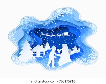 3d abstract paper cut illustration of view boy building snowman and santa claus flying in the sky. Vector colorful template greeting card in carving art style. Eps10.