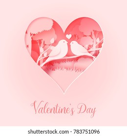 3d abstract paper cut illustration Valentine Day of pink heart shape with bird's couple on the tree. Vector colorful greeting card template in carving art style.