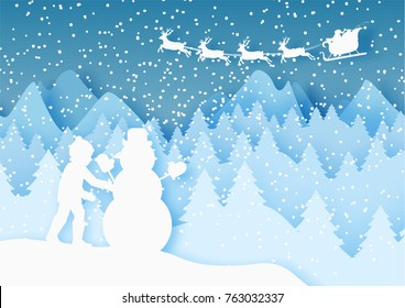 3d abstract pastel paper cut illustration of view boy building snowman and santa claus flying in the sky. Vector colorful template greeting card in carving art style. Eps10.