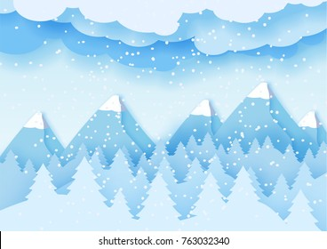 3d abstract pastel paper cut illustration of winter landscape with clouds, pines and mountains. Vector colorful template greeting card in carving art style. Eps10.