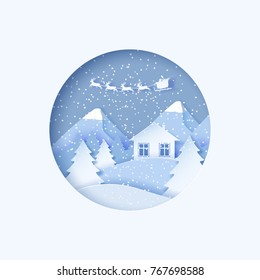 3d abstract pastel paper cut illustration of winter landscape with pines, mountains, house and santa claus flying. Vector colorful template greeting card in carving art style. Eps10.