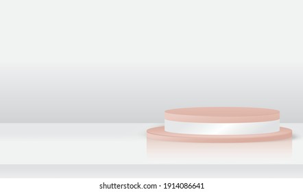 3D Abstract podium minimal background with clean stage. perfect for showing product and promotion. feminim colour tone, fit on woman product and valenties theme -3D Vector.