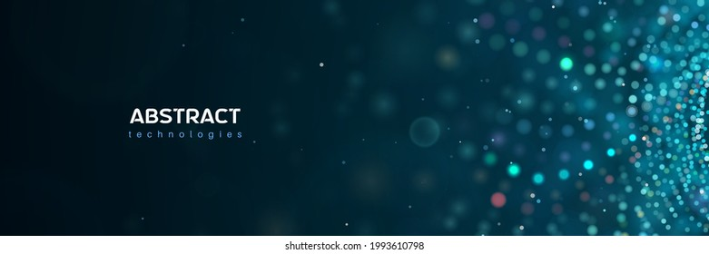 3d abstract technology particles vector blue banner. Scientific medical research, big data abstract illustration with blur effect