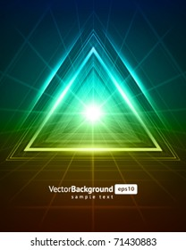 3D abstract triangle tunnel vector background