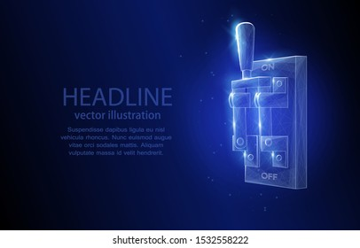 3d abstract vector illustration concept, switch on a dark blue background, symbol of the beginning and the end, disconnection and connection, yes and no, control, electrics.