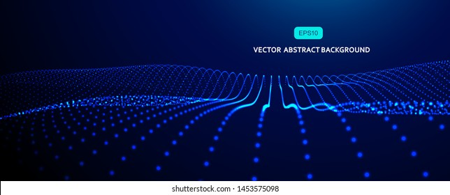 3D abstract vector particle wave background,Ai tech wire network futuristic wireframe. Artificial intelligence .