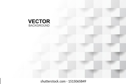 3D Abstract white geometric shape from gray cubes.Brick wall squares texture.Panoramic Solid Surface background.Creative design Seamless minimal modern pattern wallpaper and banner Vector.Illustration