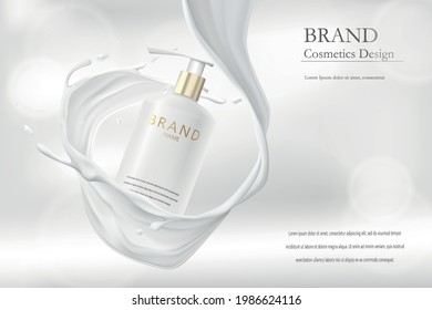 3d advertising concept for a cosmetic product. Cream bottle packaging mockup in milk splash. Realistic design to showcase the brand on banners in a minimalist style.