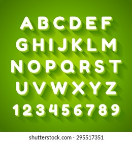 3d alphabet font with flat long shadow effect. Vector illustration. Green background