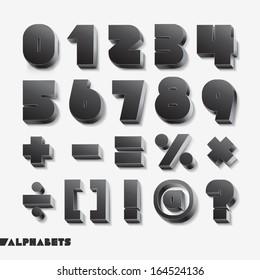 3D alphabet number black color. Vector illustration.
