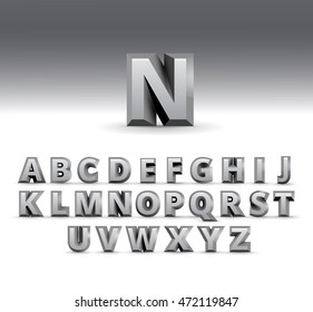 3d alphabet template gray letters isolated on white background vector number sign 3d
