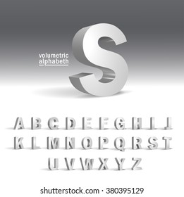 3D Alphabet template.Volumetric alphabet design