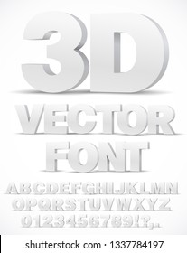 3D alphabet vector font with type letters and numbers