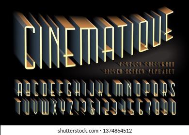 A 3d alphabet in a vintage Hollywood cinema style