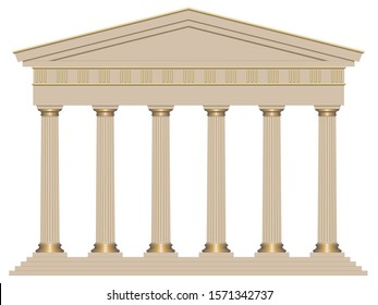 3D Ancient temple with six columns isolated on white background