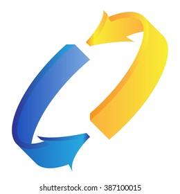 3d arrow for business or website button decoration. Vector illustration