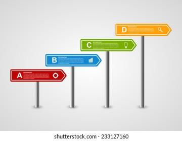 3D arrow signpost business options infographics design template. Vector illustration.