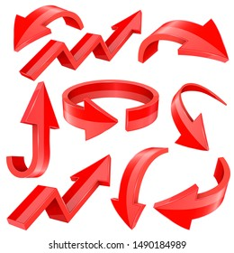 3d arrows. Red signs with reflection. Vector illustration on white background