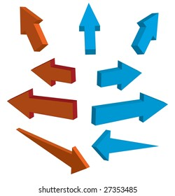 3d arrows, vector illustration.