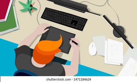 3d artist, 2d artist, concept artist at work in the studio. A man using graphics tablet. Vector illustration, top view