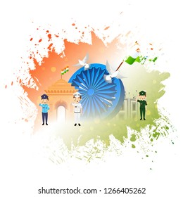 3D Ashoka Wheel with illustration of saluting army officers and Famous Indian Monuments on national flag color background.