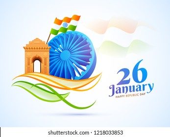 3D Ashoka Wheel with India Gate and waving Indian flag illustration for 26 January, Republic Day celebration concept.