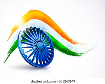 3D Ashoka Wheel with Indian Flag colors brush strokes. Happy Independence Day and Republic Day celebration background.