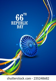 3D Ashoka Wheel with shiny national flag color stripes on blue background for 66th year of Indian Republic Day celebrations.