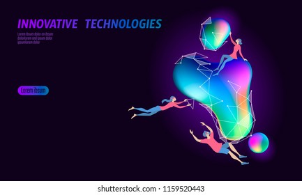 3D augmented reality virtual media space. Small people education glowing neon fluid liquid color sphere. Digital entertainment innovation home technology render gradient dynamic vector illustration