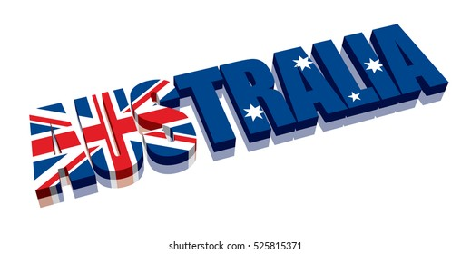 3D Australia Word Text Flag (letters)